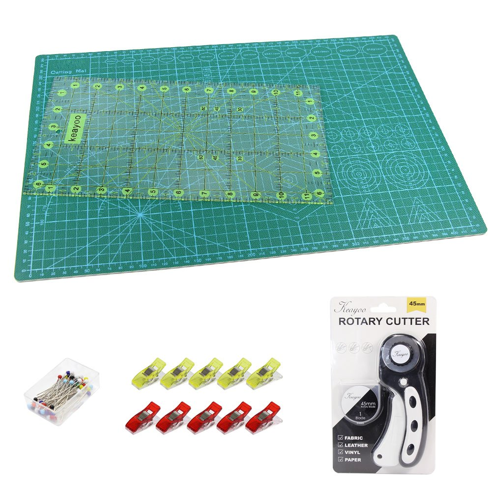 KEAYOO Rotary Cutting Quilting Kit,Quilting Supplies,A3 Cutting Mat Set of 6 (ruler in inches)