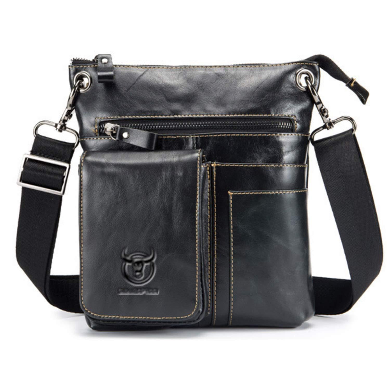 MUMUWU Men's Shoulder Bag Leather Shoulder Crossbody Bag for Casual Men's Leather Briefcase (Color : Black, Size : M)