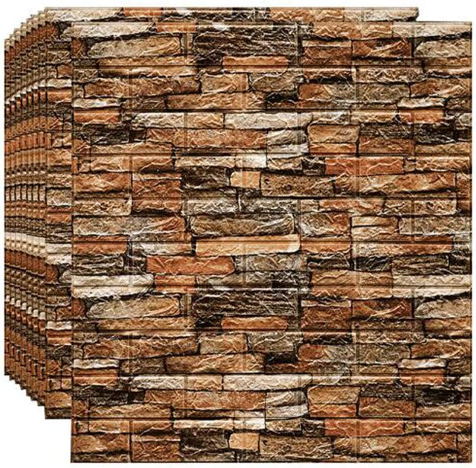 JUCAI 20 PCS 3D Brick Wallpaper Peel and Stick Panels, Self-Adhesive Wall Panels Waterproof PE Foam Faux Textured Stone Wallpaper for Room and Home Decor (116 Sq Ft),1