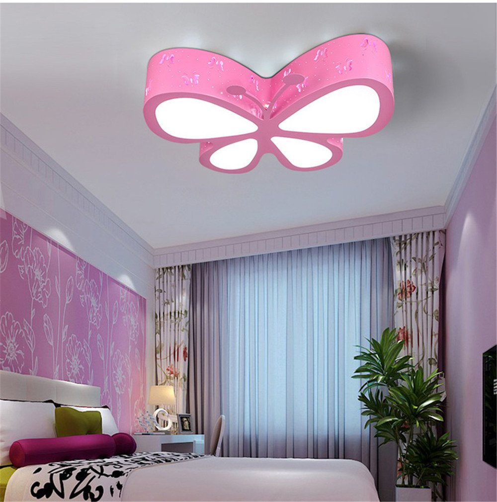 Leihongthebox Ceiling Lights lamp Butterfly children's room lamp led Ceiling lamp lights boys and girls children Ceiling lamp, no polarity bands to the remote control for Living Room,500mm