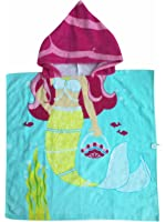 Mermaid Hooded Towel for 1-5 Years Girls Blue Yellow Sea-maid Kids, Baby, Toddler Beach, Pool Poncho Bath Robe With Pink Hood