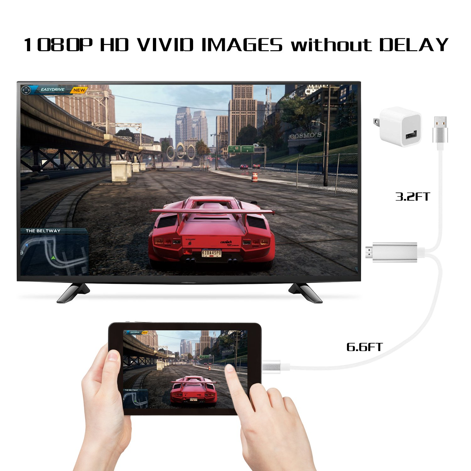 Silver Digital AV Adapter 1080p HD TV Connector Cord Compatible with iPhone Xs Max XR 8 7 6Plus iPod to TV Projector Monitor Bambud Compatible with iPhone iPad to HDMI Adapter Cable 6.6ft iPad