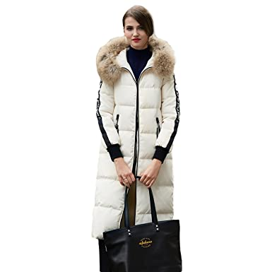 3d6ba0a4edf BOSIDENG Women s Winter Down Jacket Straight X-LONG Real Fur Hooded  Printing Thicken Warm Street