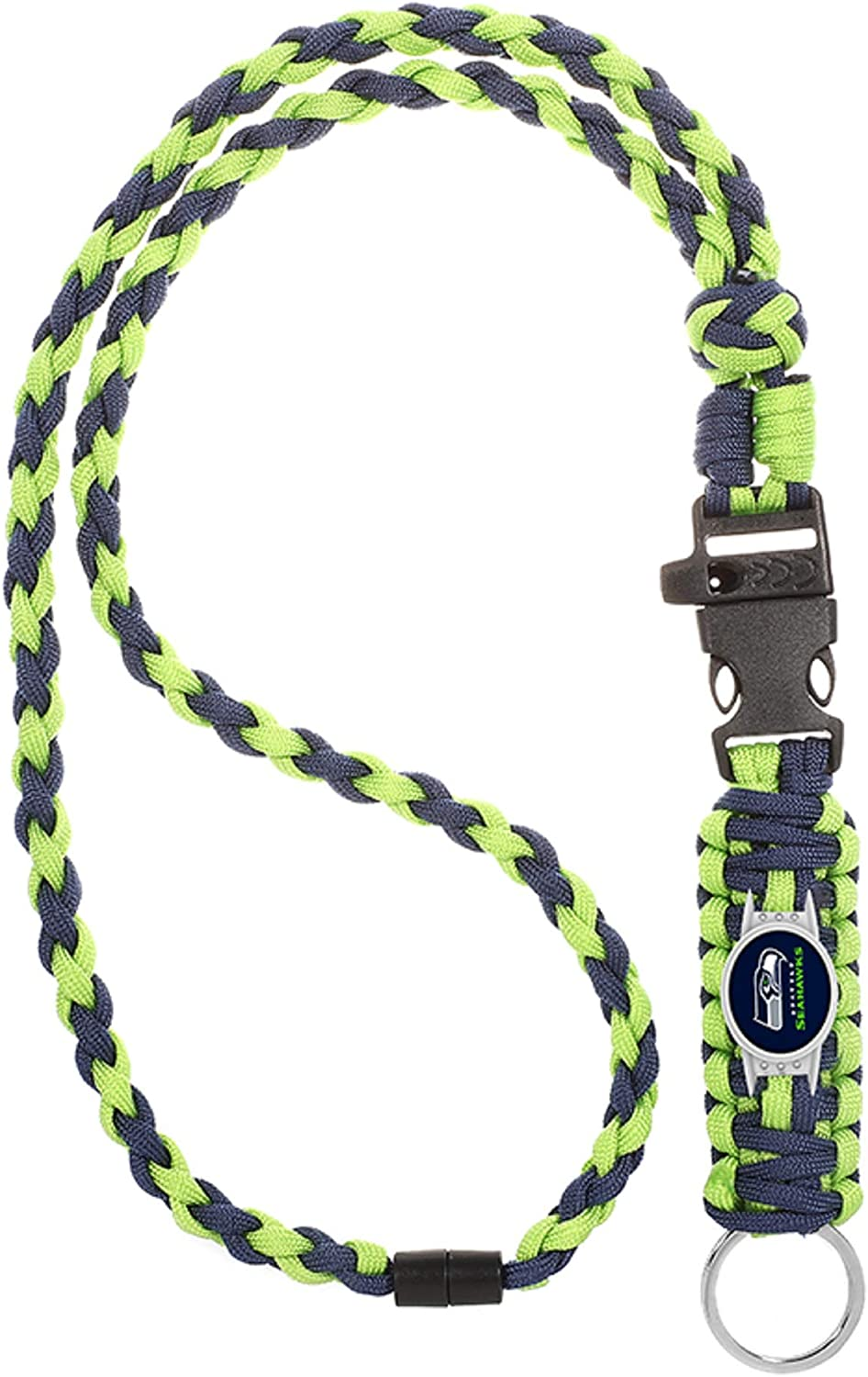 and Keychain Release Neck Clasp Seattle Seahawks Paracord Lanyard with Team Charm