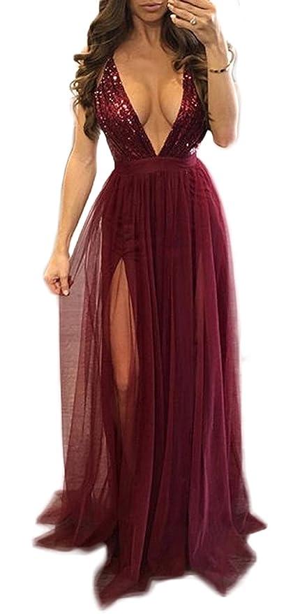 ... Vestiti Donna Sexy profondità V Collo Giarrettiere Senza Schienale Lunghe  Vestito da Partito Cocktail Moda Paillettes Tulle Cucitura Maxi Abiti con  ... 6a36bbfd213