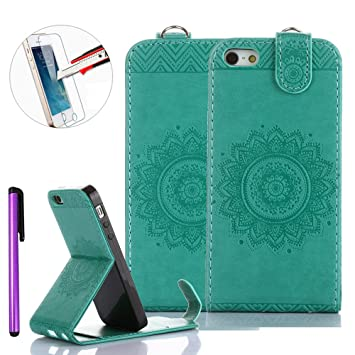 free shipping 55854 72e7e iPhone SE Leather Case,iPhone 5 Case,Apple iPhone 5S [Vertical Flip]  Case,iPhone 5 5S SE Stand Case Cover,NEWSTARS Embossed Premium PU Leather  ...