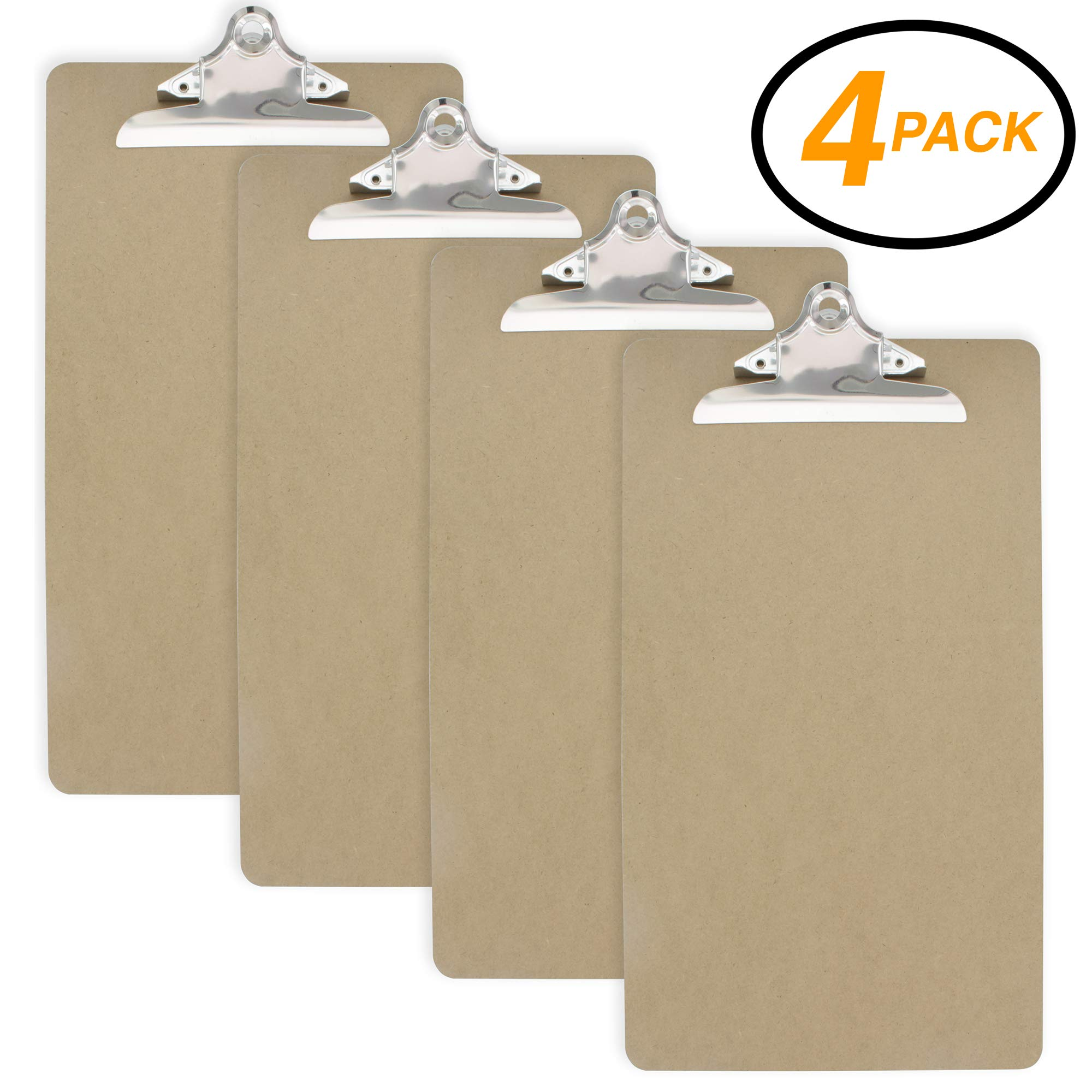 Emraw Legal Size Wood Clipboards (9'' x 15.5'') Flat Hanging Hardboard Set with Sturdy Clip for School, Office, Work, Home, Hospital - 4 Pack