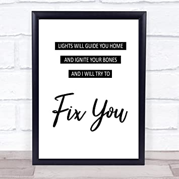 com fix you song lyric quote print office products