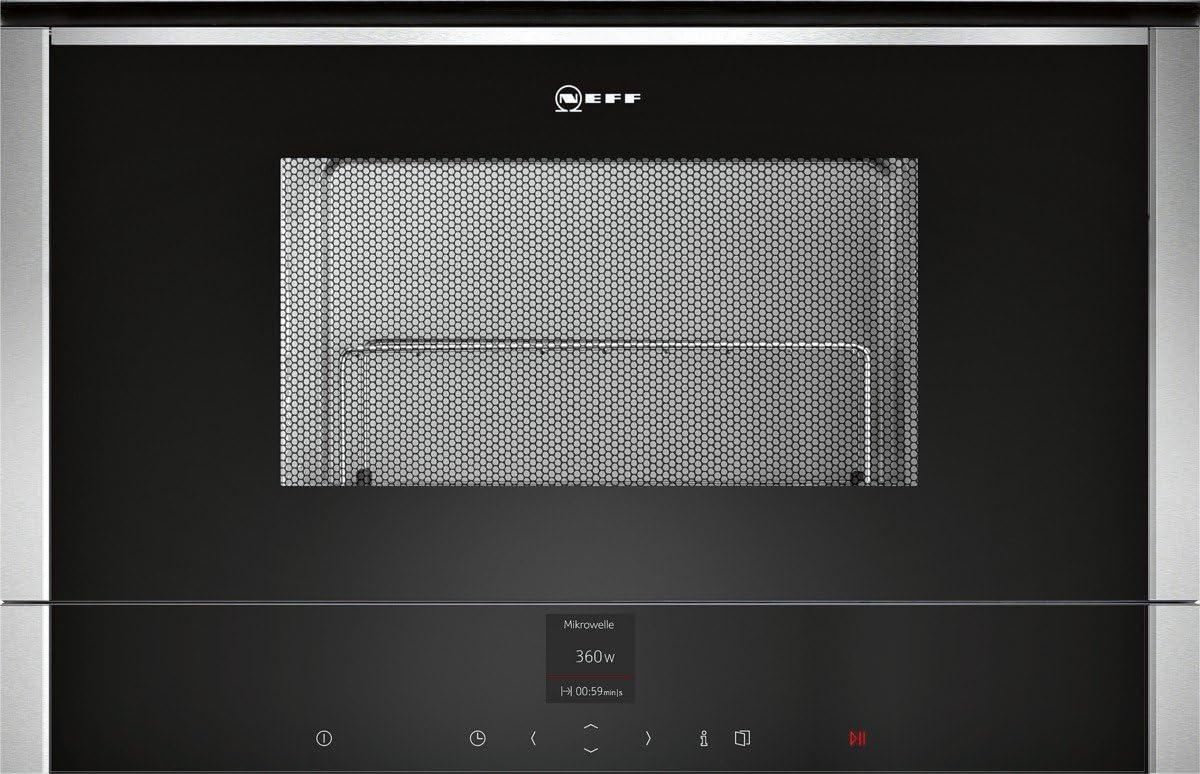 Neff C17GR00N0 - Microondas empotrable N70 (38,2 x 59,4 cm, 21 L, acero inoxidable, función de descongelación, función de cocción, 10 programas automáticos)