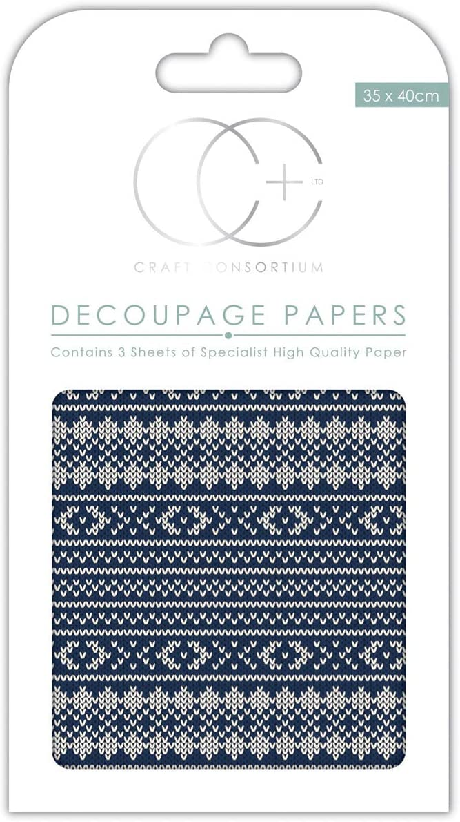 3//Pack Craft Consortium Nordic Stitch Decoupage Papers 13.75 x 15.75