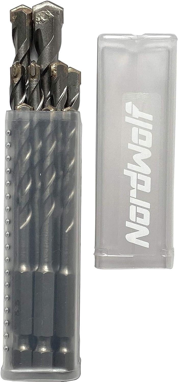 10 mm dans une bo/îte en plastique NordWolf 19011 Lot de 9 forets de ma/çonnerie /à tige hexagonale 6,35 mm x 3 8 mm 6,5 mm x 3-7 mm
