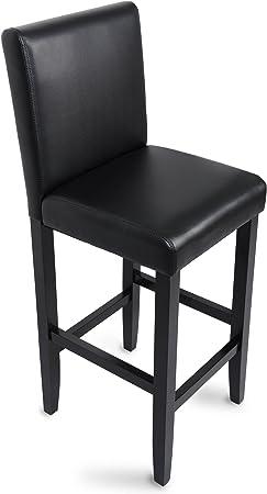 WOLTU 1 X Tabouret de Bar avec Pieds en Bois,Chaise avec Dossier en Cuir synthétique,Noir BH21sz 1