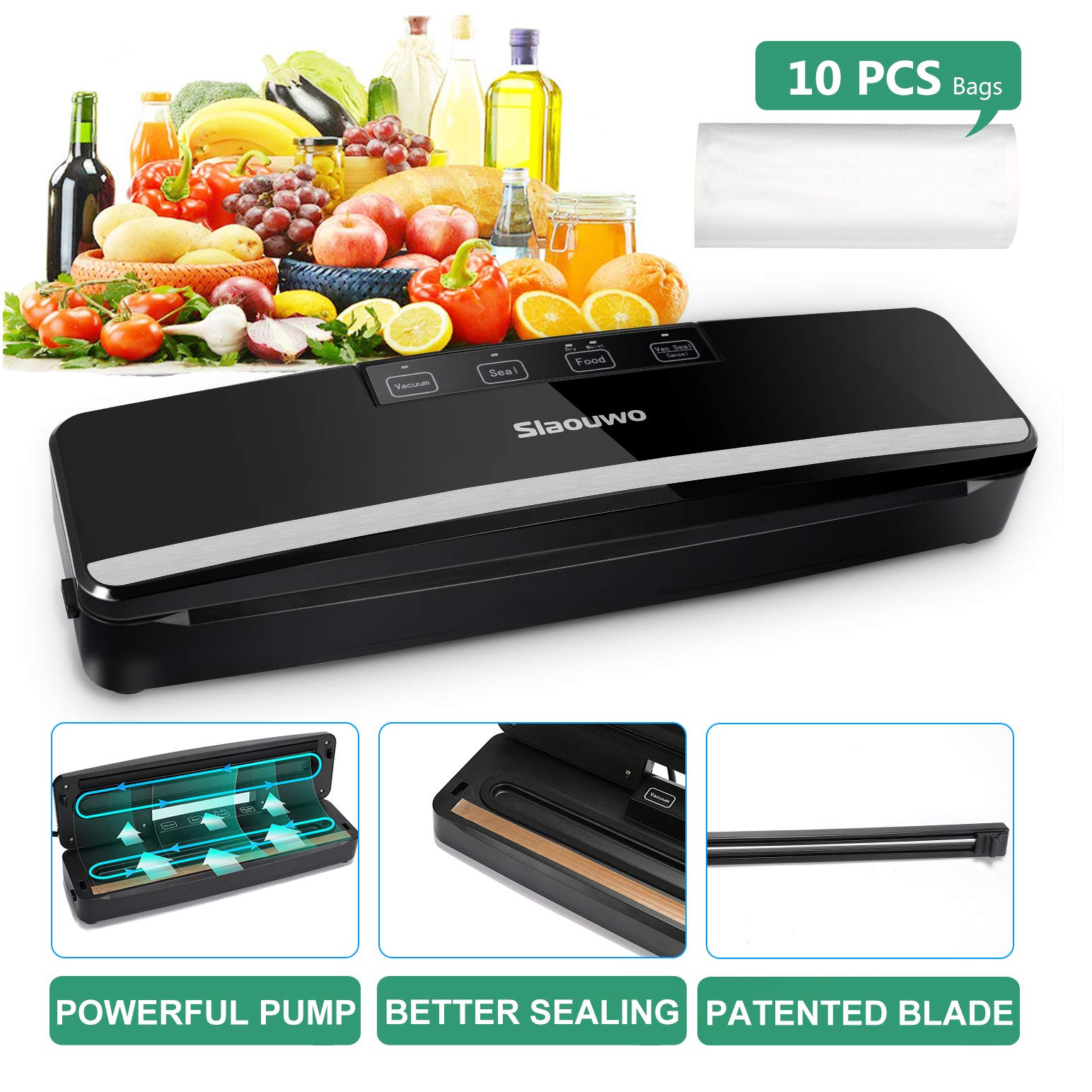 Slaouwo Vacuum Sealer Automatic Food Sealer Machine with Dry and Moist Modes, Led Indicator Light, Hose, Bags and Rolls Starter Kits Compact Design for Food Save by Slaouwo
