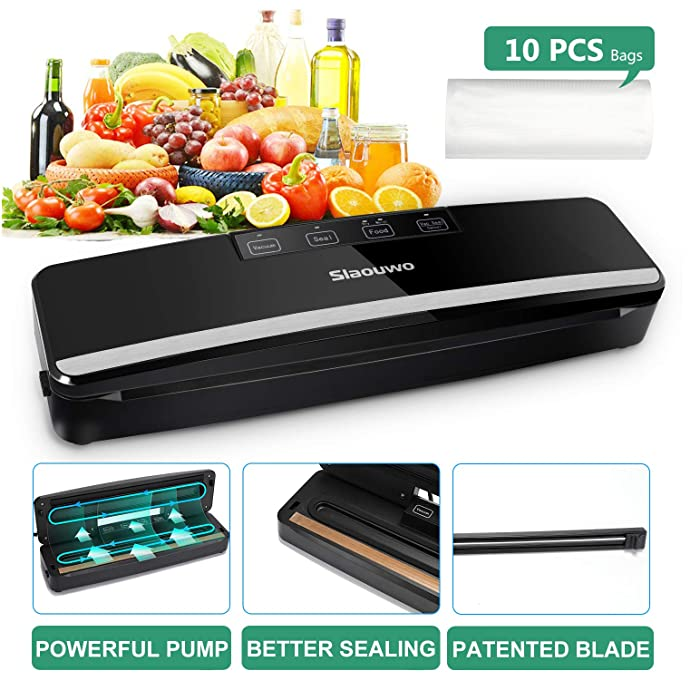 Slaouwo Vacuum Sealer Automatic Food Sealer Machine with Dry & Moist Modes, Led Indicator Light, Hose, Bags and Rolls Starter Kits Compact Design for Food Save