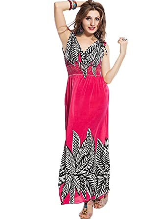 c26f69a315f9f Yummy Bee Maxi Dress Plus Size Dresses Long Party Summer Casual Print  Sleeveless 8-20: Amazon.co.uk: Clothing