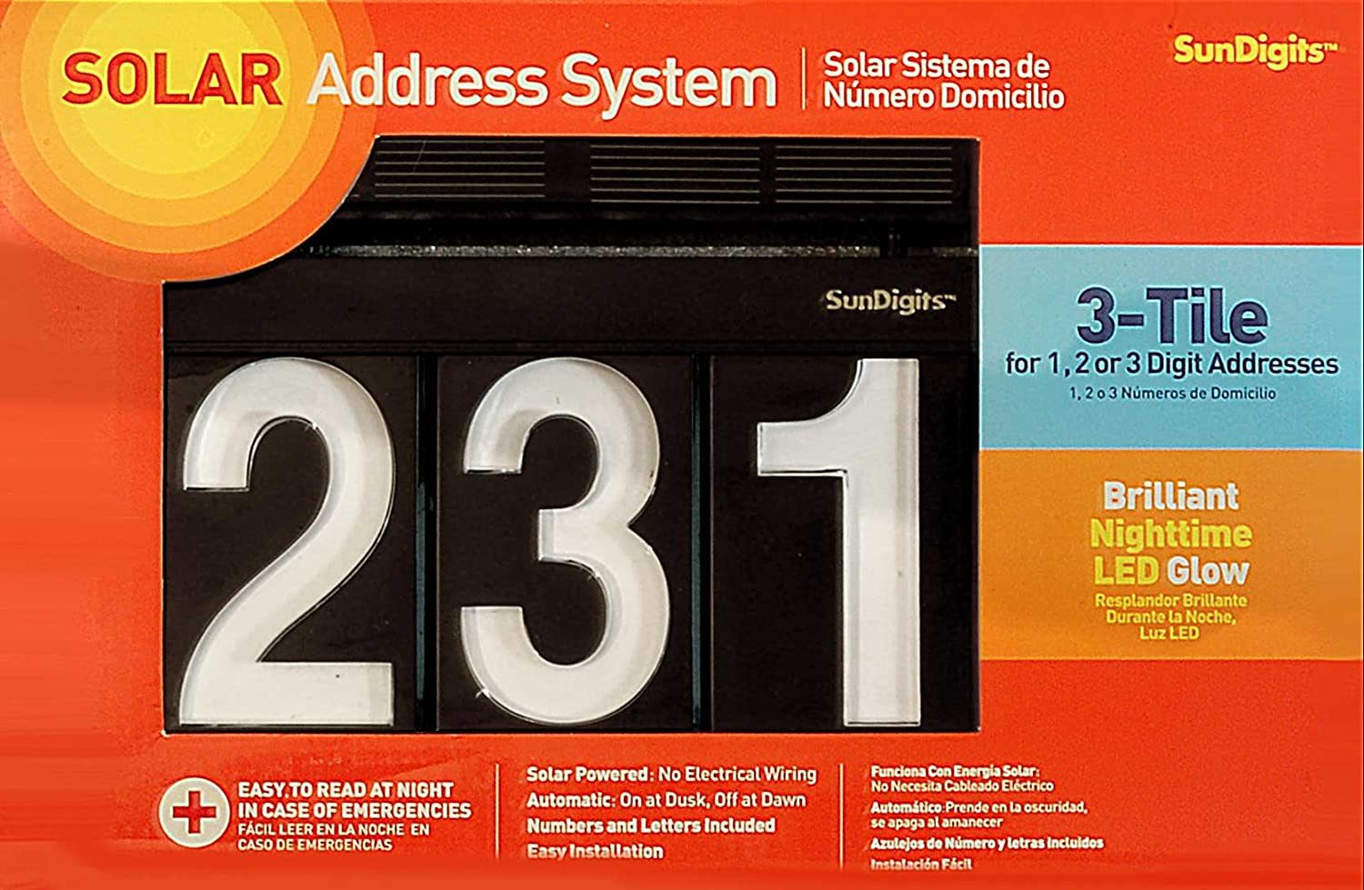 Sundigits 3 Digit Solar Led House Numbers 3 digit kit