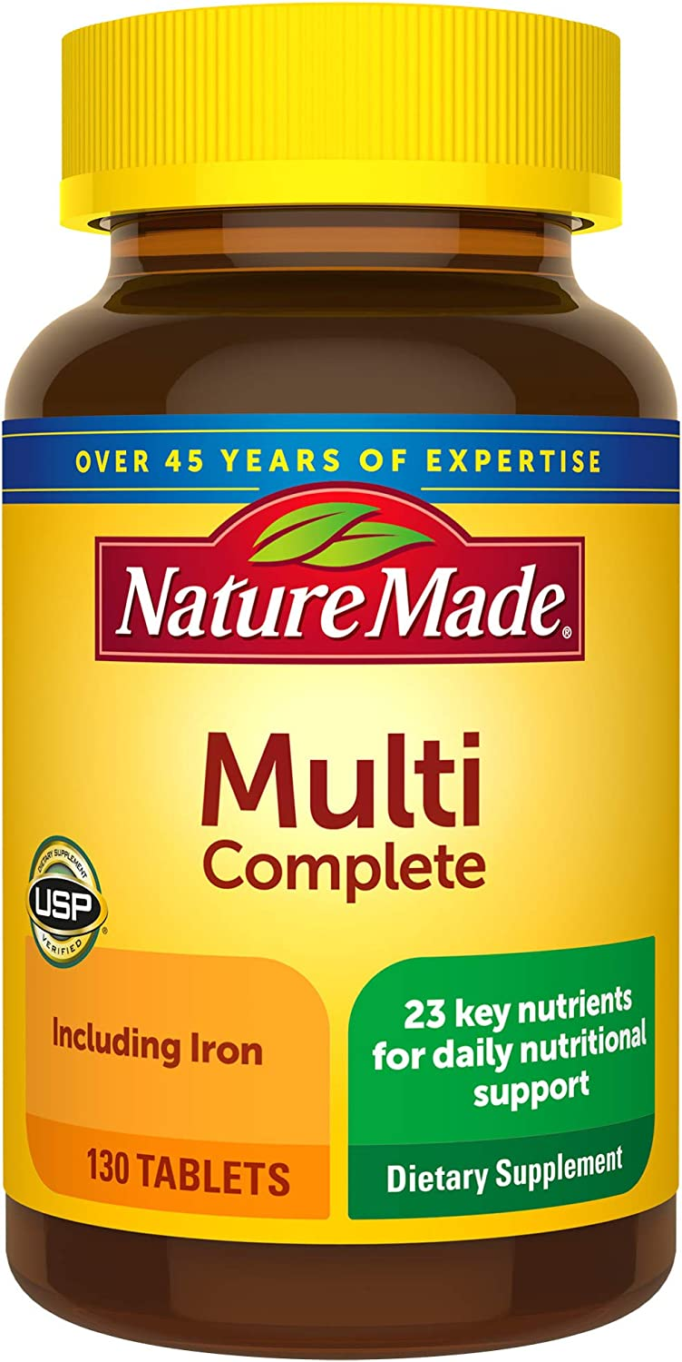 Nature Made Multivitamin Complete Tablets with Vitamin D3 and Iron, 130 Count (Packaging May Vary)