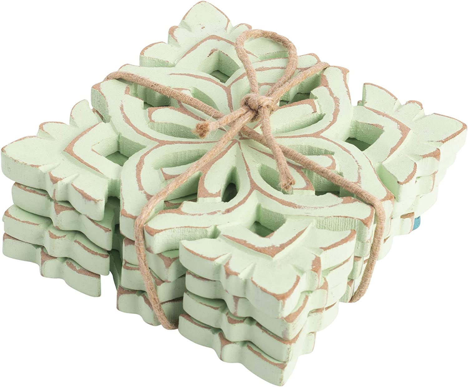 Farmhouse Decor Wood Coasters for Drinks - Kitchen Table Drink Coaster Set of 4 (Square Carved Blossom Sage Green)