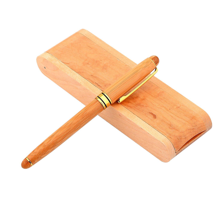 Bolígrafo de madera retráctil