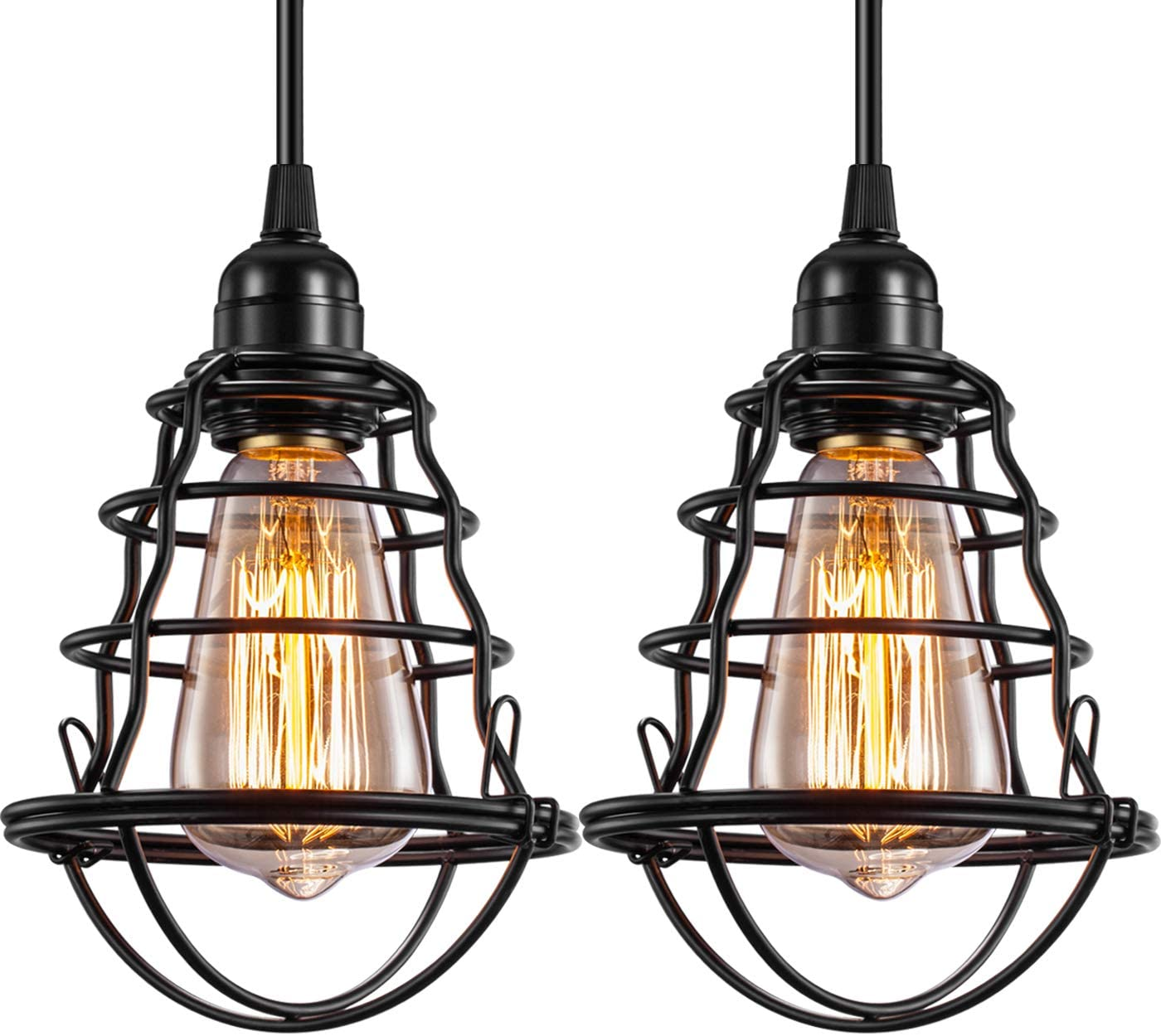 Industrial Pendant Light Edison Hanging Cage Pendant Lights E26 E27 Base Vintage Adjustable Pendant Lamp Fixture for Kitchen Home Lighting 2 Pack