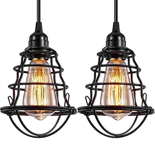 Industrial Pendant Light Innoccy Edison Hanging Cage Pendant Lights