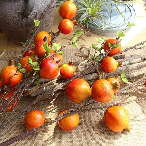 Pérgola artificial con forma de rosa, fruta, granada, bayas, flores, decoración para el hogar medium naranja: Amazon.es: Hogar