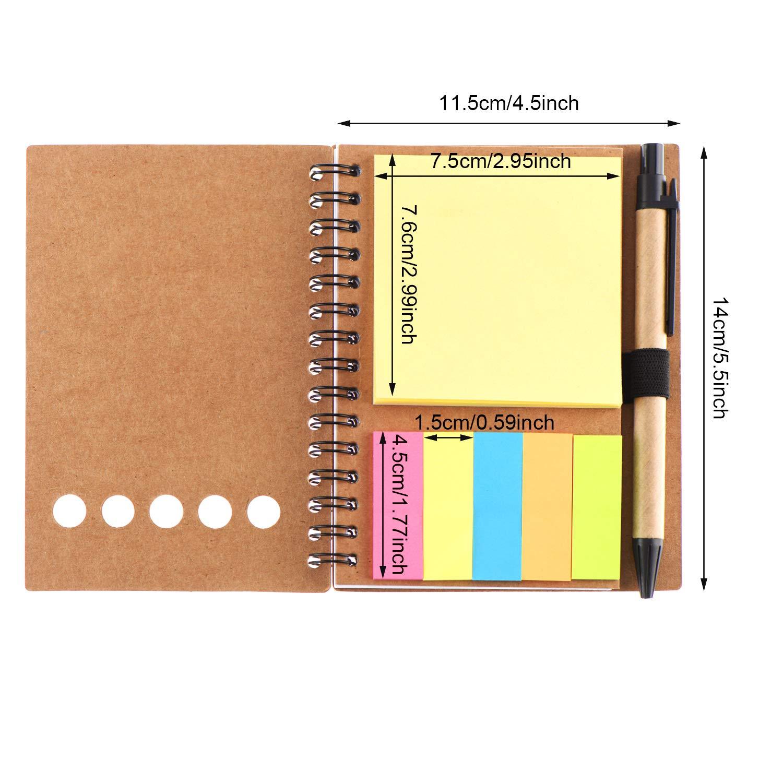 Indicatore di Pagina Colorato Bandiere delle Schede Indice e Penna in Supporto 4 Pezzi Quaderno a Spirale 280 Fogli Blocco Note Foderato con Blocchetti per Appunti Appiccicosi Set 4