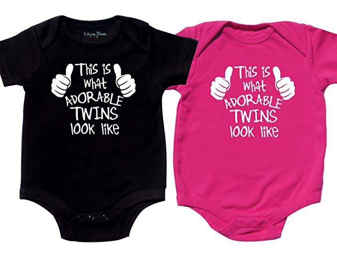 Amazon Com Nursery Decals And More Twin Boy And Girl Bodysuits