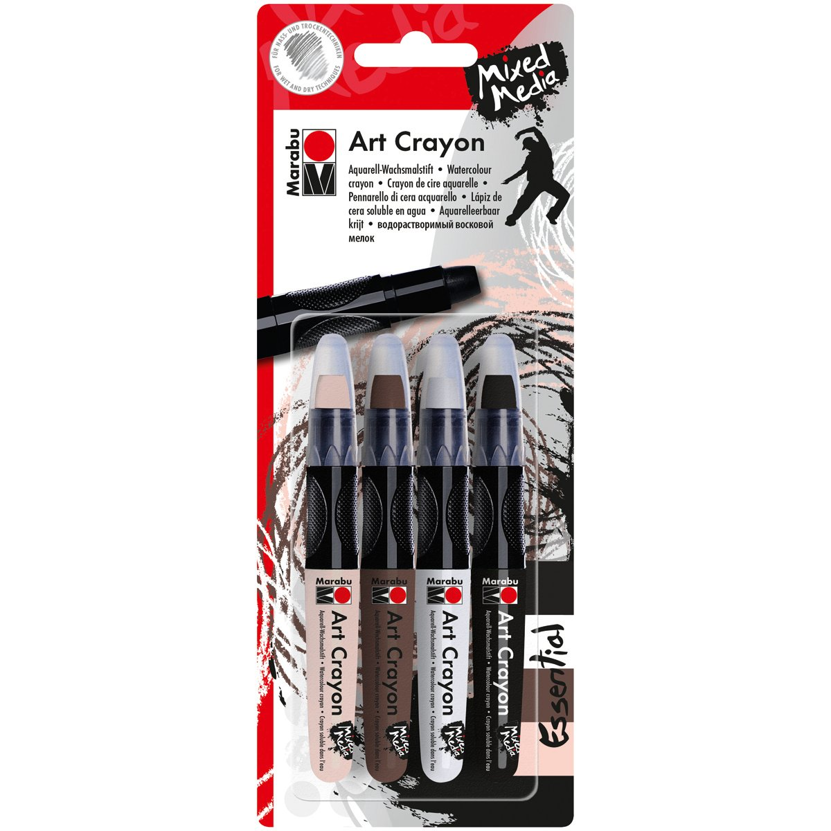 Marabu 1409000-203 Creative Art Crayon Set 4/Pkg-Essentials-Flesh, Cocoa, White & Black