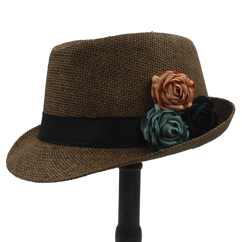 Centenarios Straw Women Boater Beach Sun hat Panama Fedora Hat with Camellia Flower