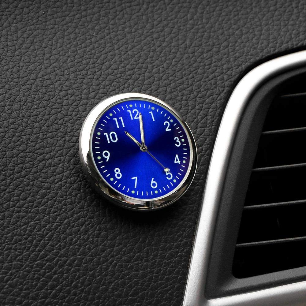 DokFin Car Dash Clock 1.5 Inch Diameter Fluorescent Car Clock Stick On For Car Boat Bike Home Tiny Round Automotive Clock With Black Blue White Gold Colors Selectable