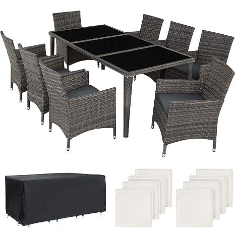 TecTake 403084 Salon de Jardin 8 Personnes en Résine tressée Cadre en  Aluminium, 8 Chaises et 1 Table avec Plateau en Verre, 2 Sets de Coussins  et 1 ...