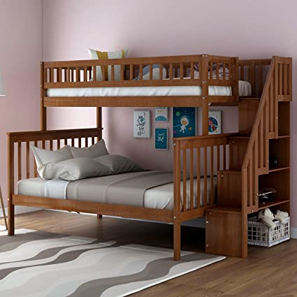 Twin Over Full Stairway Bunk Bed With Storage Top Unikes Wooded Bunk Bed Frame Separate To Upper Twin Bed And Bottom Full Bed Walnut Amazon In Home Kitchen