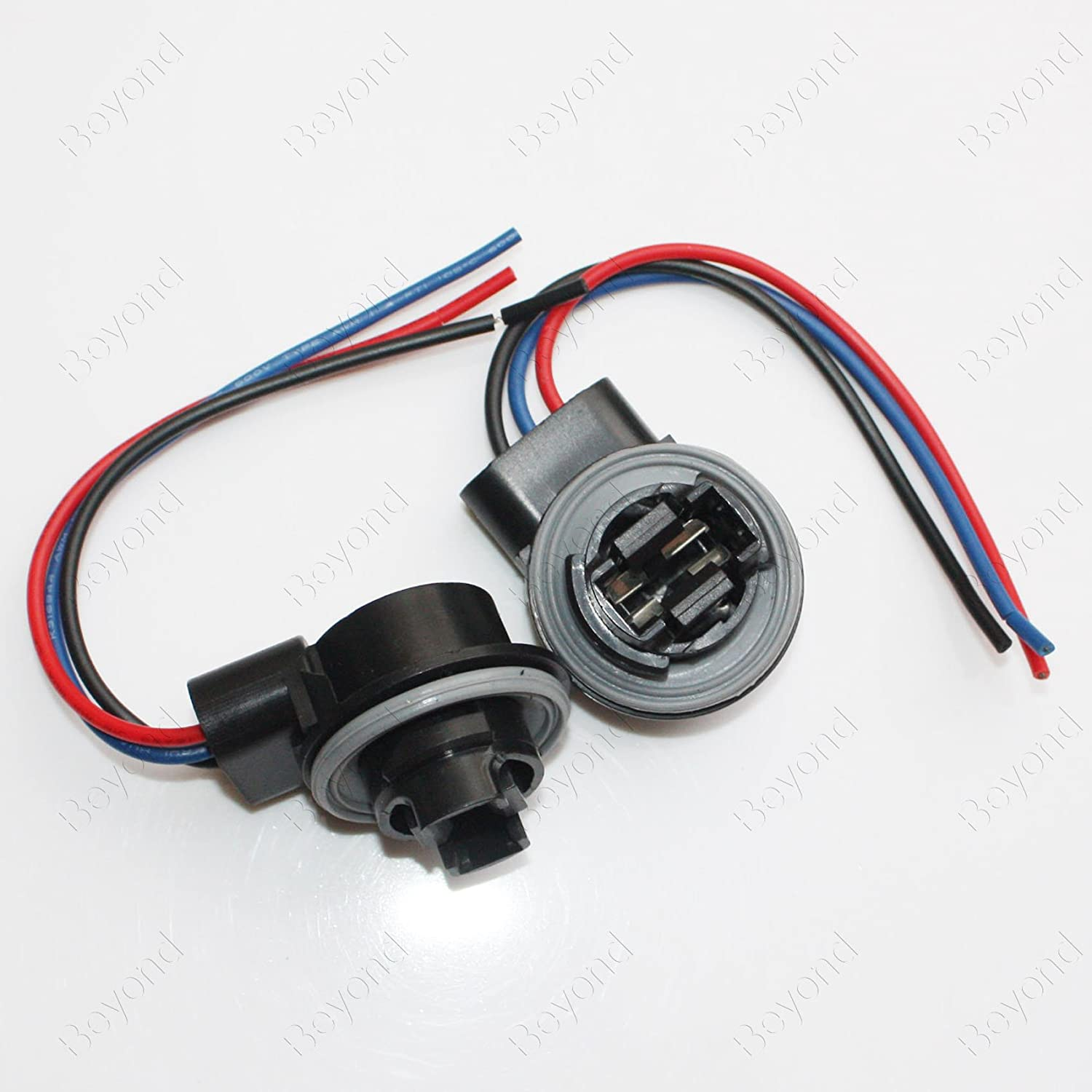 BYOPTO 2 Pcs (3157 female) Car Auto Truck HeadLight FOG Brake Turn Signal Light Bulb Socket Holder Replacement Connector Wire Harness Beyond Optoelectronic