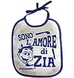 Bavaglino SONO L'AMORE DI ZIA - simpatica bavetta 100% cotone Fermento Italia