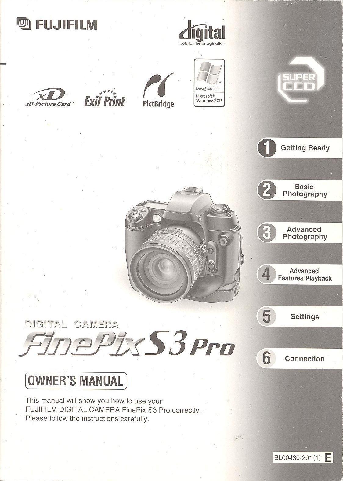 Fujifilm finepix s3 pro digital camera quick start instruction.