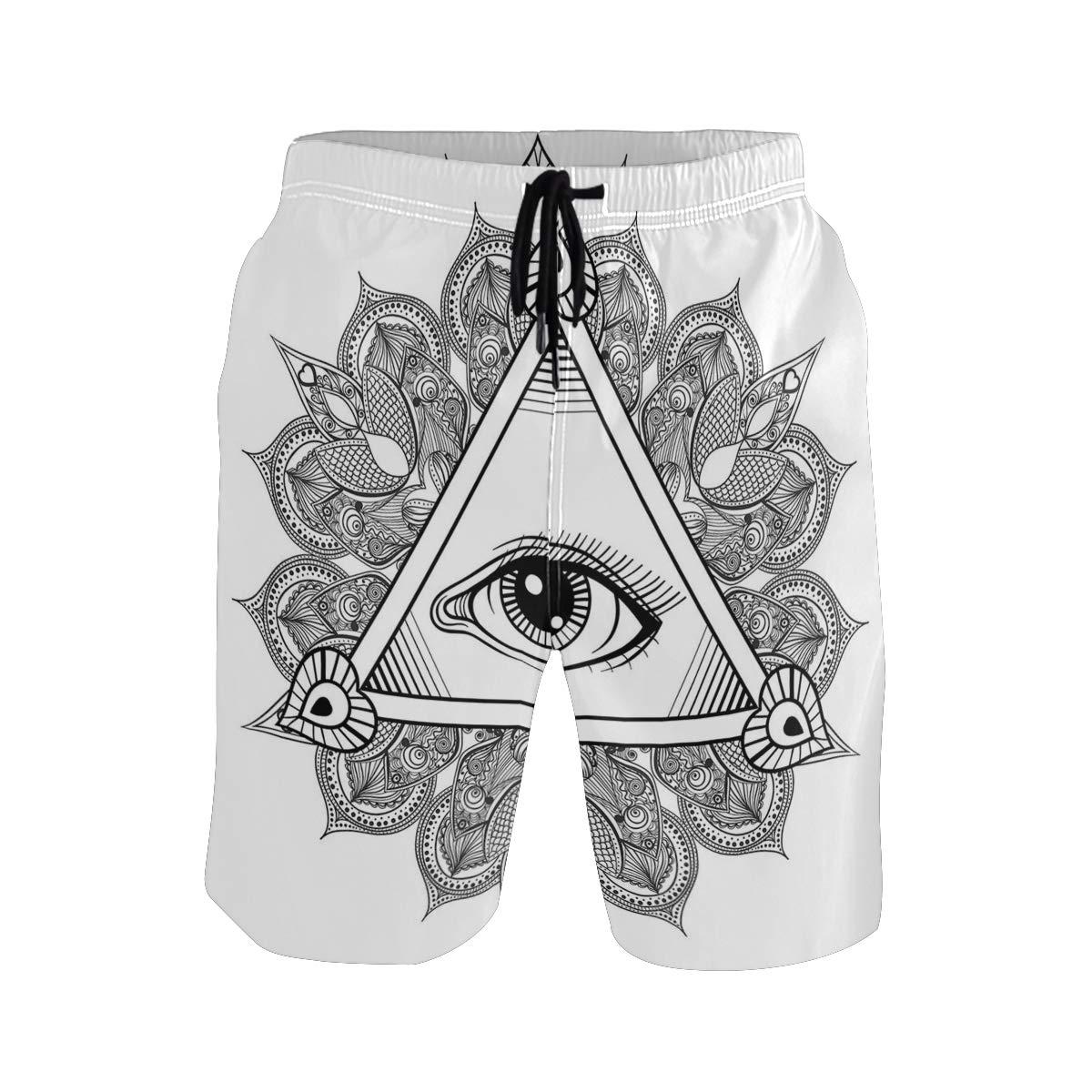 KVMV Vintage All Seeing Eye Tattoo Symbol with Boho Mandala Providence Spirit O Quick Dry Beach Shorts