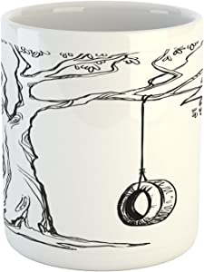 Ambesonne Tree Mug, Tree with a Tire Swing Illustration Happy Place Summer Childhood Holidays Garden, Ceramic Coffee Mug Cup for Water Tea Drinks, 11 oz, Charcoal White