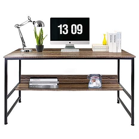 Sensational Dl Furniture Computer Desk Office Table Stable Metal Frame Wood Surface Wood Work Station Study Home Office Furniture Brown Home Interior And Landscaping Transignezvosmurscom