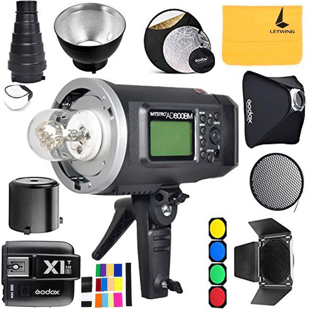 GODOX AD600BM 600Ws GN87 Sync 1 / 8000s 2.4G Wireless Flash Light Speedlite,GODOX X1T-S Flash Trigger,80 X 80 CM Softbox,Standard Reflector and Grid,Barn Door,32'' 5-in-1 Reflector,Monolights Kits