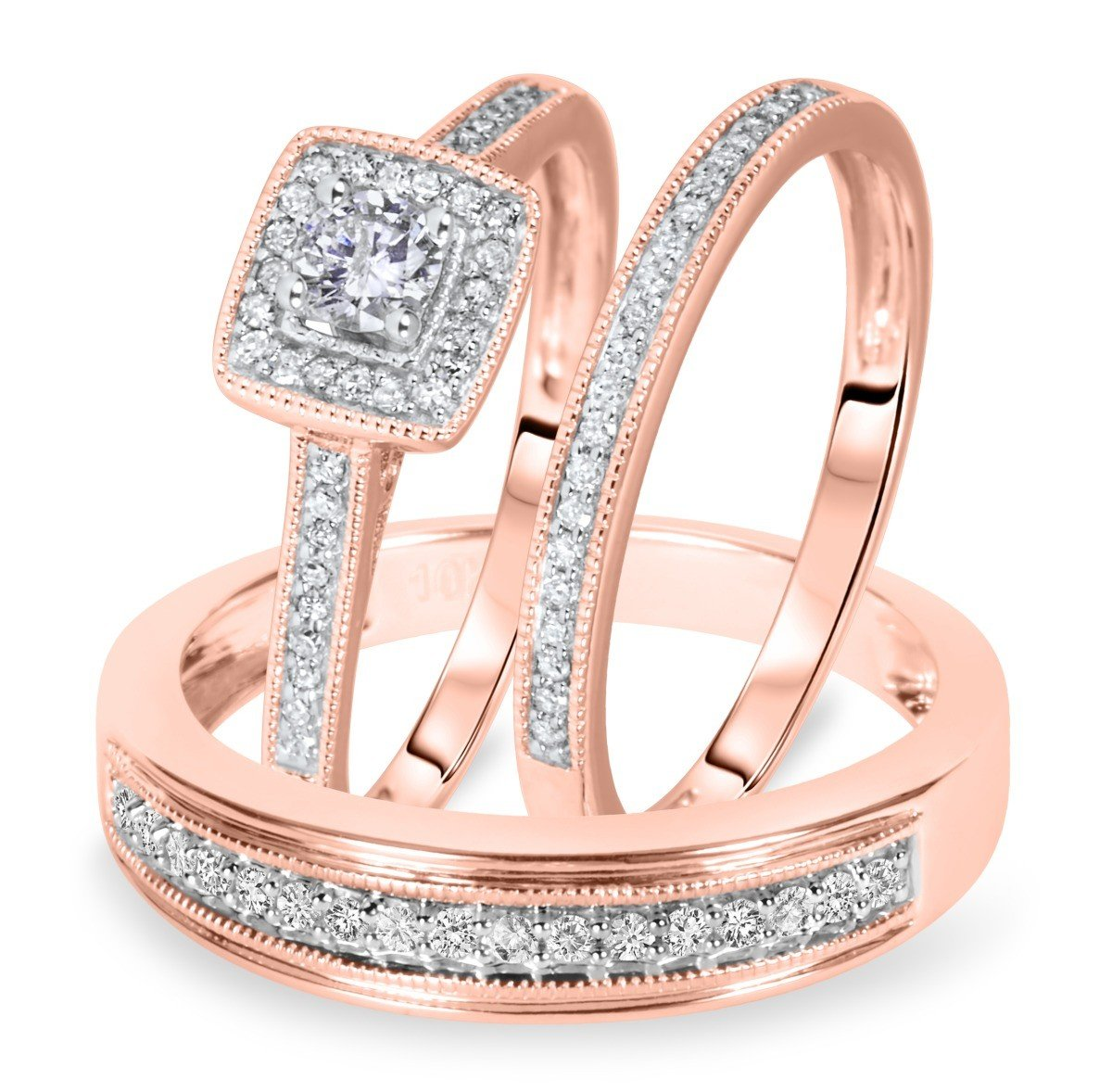 Smjewels 1/2 Carat T.W. Round Cut Diamond Matching Trio Wedding Ring Set 14K Rose Gold Fn