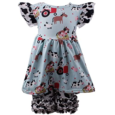 8d453b07a Toddler Baby Girl Summer Dress Pants Set Cow Animal Ruffles Outfit Set  Boutique Clothing for Girls