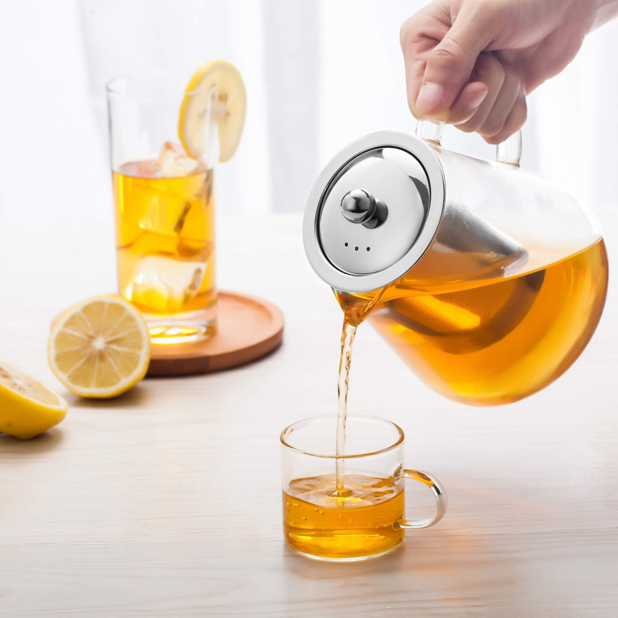 Glass Teapot Stovetop Save - OBOR Tea Kettle with Removable Food Grade Stainless Steel Infuser & Lid for Blooming and Loose Leaf Tea Maker - 32oz/950ml