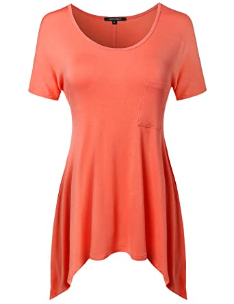278e4c87c1252b Awesome21 Women s Short Sleeve Solid Various Hem Top With Pocket at ...