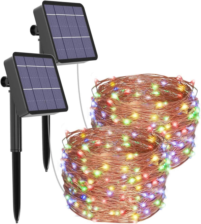 [2 Pack] Guirnaldas Luces Exterior Solar, Litogo Luces Led Solares Exteriores Jardin 12m 120 LED 8 Modos Cadena de Luces Decoracion para Navidad, Terraza, Fiestas, Bodas, Patio, Jardines