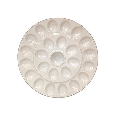 Casafina Cook & Host Collection Stoneware Ceramic Deviled Egg Serving Platter 13.25 , Cream