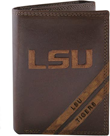 Rico NCAA LSU Tigers Embossed Leather Billfold Wallet with Man Made Interior