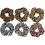 SUSULU Set of 6 Leopard Animal Print Chiffon Hair Scrunchies Elastic Hair Bands Ponytail Holder for Women Accessories