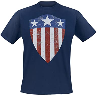 T Shirt Marvel Captain Amercia Old Shield Logo Navy Offizielles