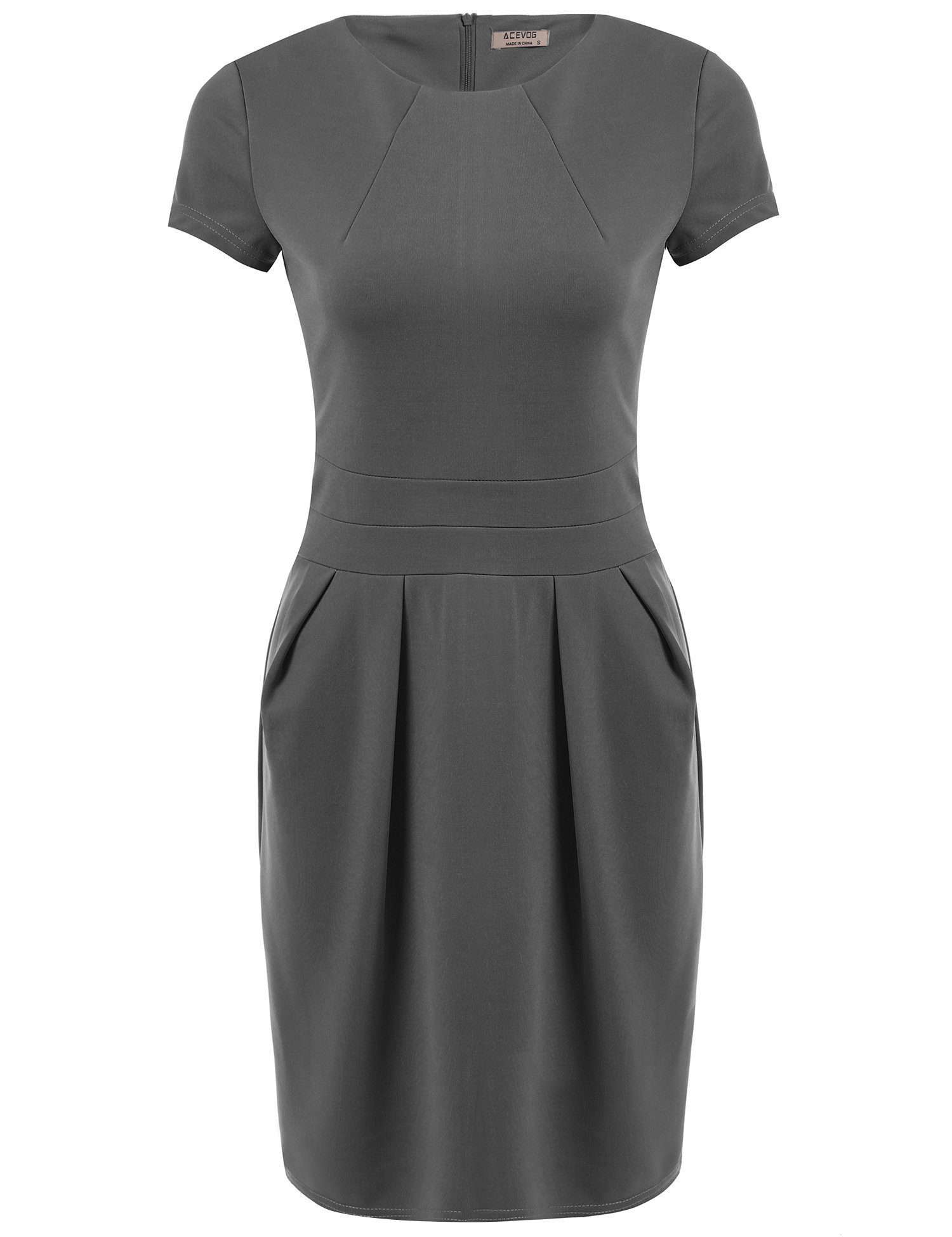ACEVOG Women's Official Wear to Work Retro Business Bodycon Pencil Dress,Grey,XXL